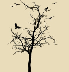 Black tree with birds vector
