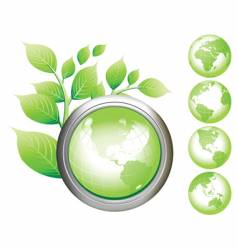 green earth symbol glossy buttons vector image