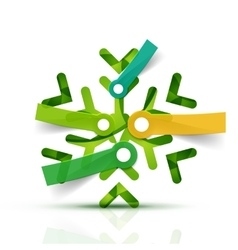 Christmas snowflake with infographic stickers vector