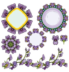 Circle frames floral borders with iris flowers vector