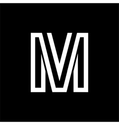Capital letter m from the white interwoven strips vector
