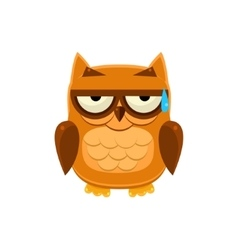 Brown owl in cold sweat vector