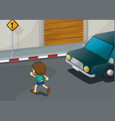 Boy crossing road vector