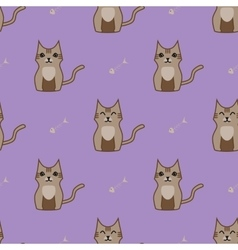 Brown cartoon cute cat background vector