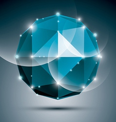 Abstract 3d sapphire festive sphere with sparkles vector