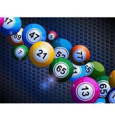 Bingo balls on honeycomb metallic background vector image