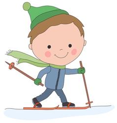 boy skiing vector image vector image