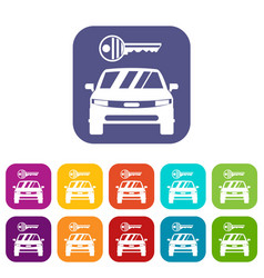 Car and key icons set vector