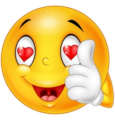 Cartoon smiley love face and giving thumb up vector image