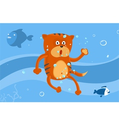 Cat swims vector image vector image