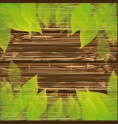 Colorful background wooden texture with leaves vector