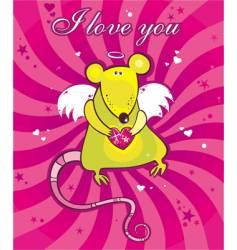 Cupid rat card vector