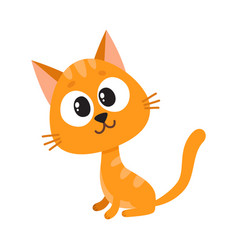 Cute and funny red cat character sitting looking vector