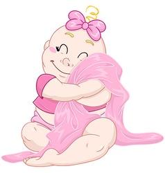 Cute Baby Girl Hugs Pink Blanket vector image