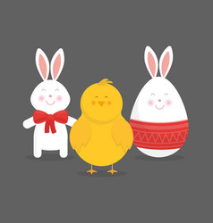 Cute easter bunny chicken and egg vector