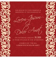 Damask wedding invitation red vector
