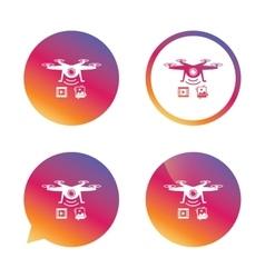 Drone icon Quadrocopter with video camera vector image
