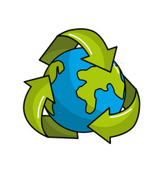 Earth planet inside of recycling symbol vector