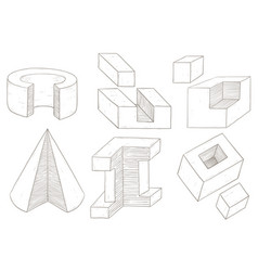 geometric shapes hand drawn sketch vector image