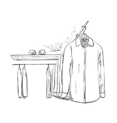 Hand drawn wardrobe sketch Mans shirt vector image vector image