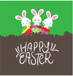 happy easter card with egg and gifts vector image vector image