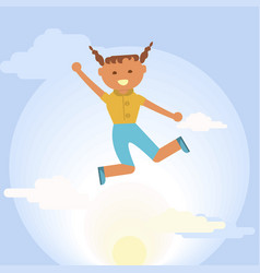 happy girl is jumping vector image vector image