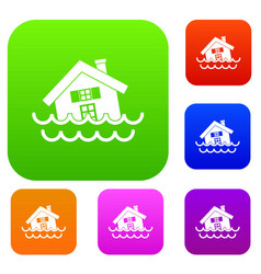 House sinking in a water set collection vector