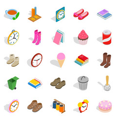 Indoors icons set isometric style vector