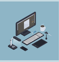 Isometric computer workplace composition vector