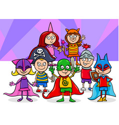 Kids group at mask ball cartoon vector