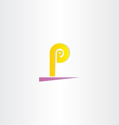 letter p yellow purple sign logo vector image vector image