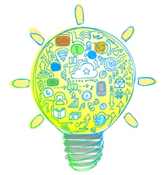Light bulb with internet and social network icons vector image