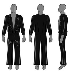 man silhouette in decorated costume vector image vector image