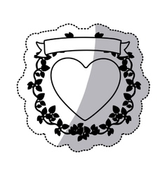 monochrome sticker with heart and ribbon with vector image vector image