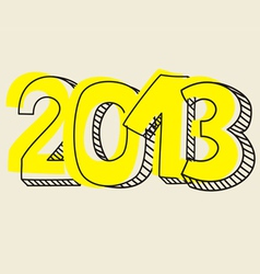 New year 2013 hand drawn symbol yellow highlighter vector