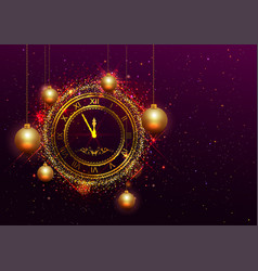 New year eve gold clock with roman numerals vector