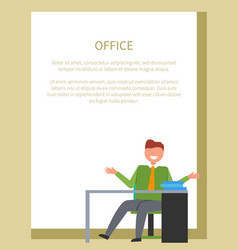 office worker sitting on chair in front of table vector image