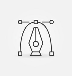 Pen tool with curve icon graphics design vector