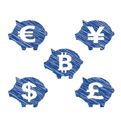 Piggy bank currency icons with hand drawn effect vector image