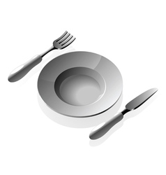 Plate and silverware vector