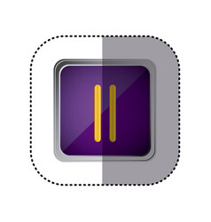 purple emblem pause button vector image vector image