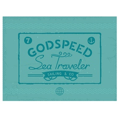 Retro sea traveler print vector
