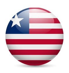 Round glossy icon of liberia vector