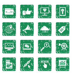 Seo icons set grunge vector