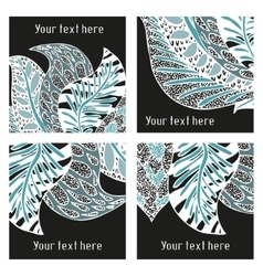 Set of modern posters with amazing feathers vector