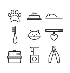 Set of pets icons cat symbols vector image vector image