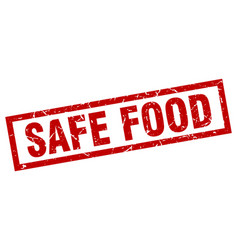 Square grunge red safe food stamp vector