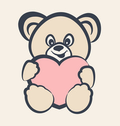 Teddy bear toy with heart vector