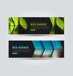 template of black horizontal web banners with vector image