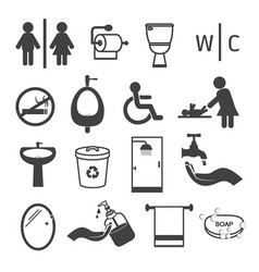 toilet and bathroom icons set vector image vector image